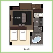 『別館』4階富士展望風呂付和洋室■寝室窓側2021年4月新設