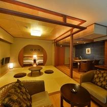 ベッド2台と和室8帖がある和洋室タイプ【半露天風呂付客室・八重旭】