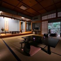 川側特別室~男爵の間~【15畳+5畳+書院付】定員7名さま。四季折々の景色をご堪能ください。