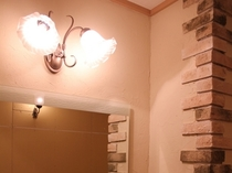 パウダールームの洗面台の照明