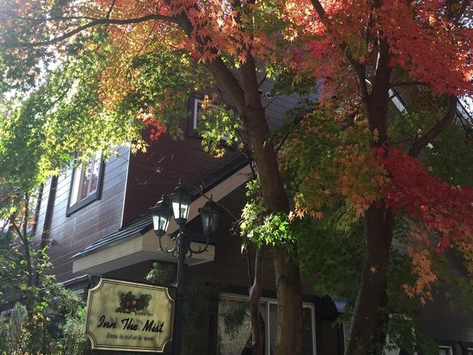 秋はモミジが美しい外観