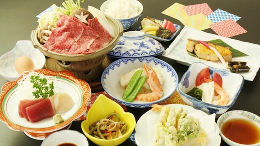 *【雫石牛しゃぶしゃぶプランお料理一例】雫石に来たからには是非味わって欲しい女性にも人気のお料理です