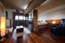 お部屋の一例☆新渚感「壱ichi」高さのあるキングサイズベッドからは、海が見える造りになっています☆