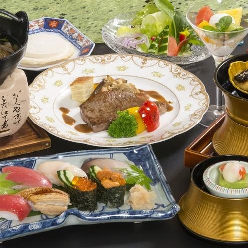 【青森県産牛のステーキと特上にぎり寿司】特別会席料理