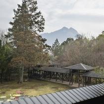 中庭と由布岳を望む景色