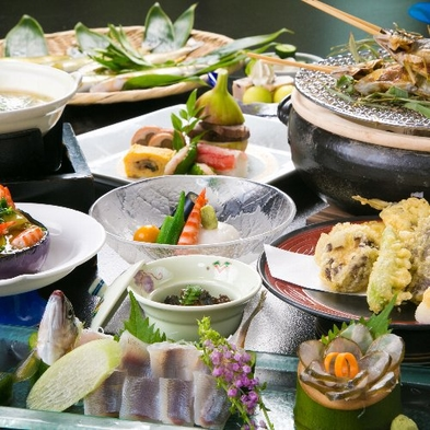 【部屋食ディナー:夏限定】旬の鮎料理4品付会席コース