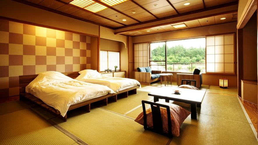ベッドのある和モダン客室