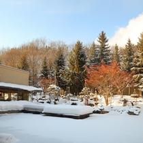 白銀の山々と中庭の雪景色をおたのしみください