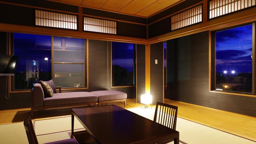 *【芍薬の間】昼夜で表情を変える日本庭園「松濤園」をお楽しみくださいませ。