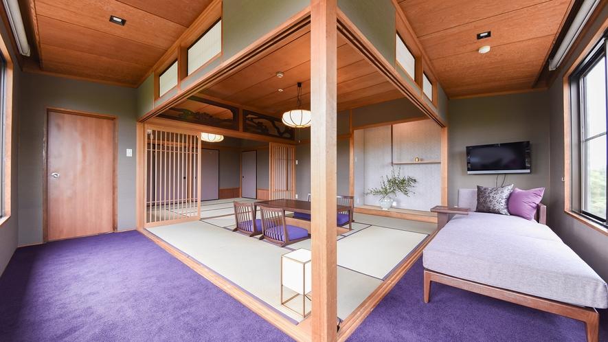 *【二間続きの和室】広大な庭園を望む静かな角部屋(8畳+6畳)