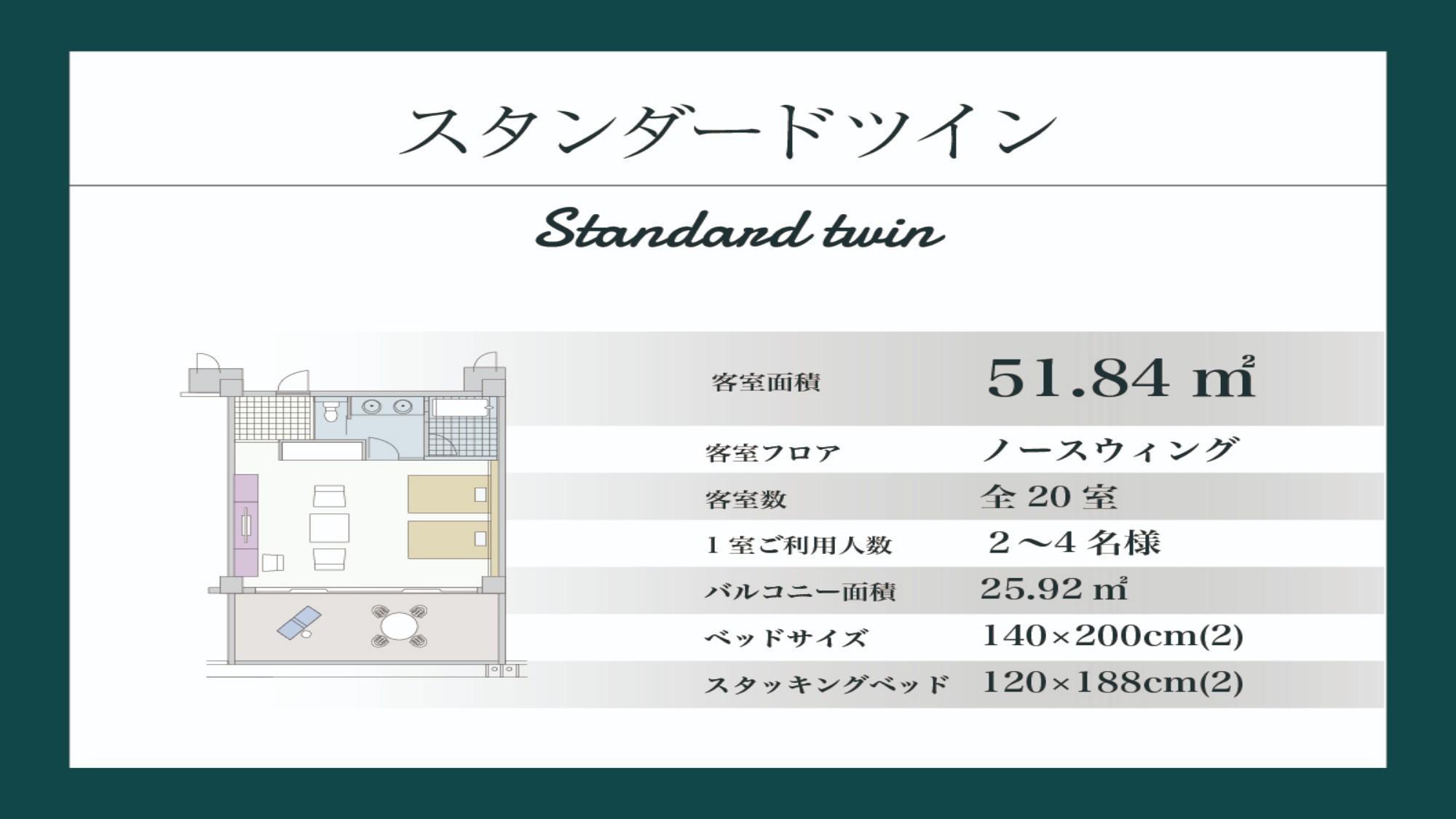 【リニューアル/スタンダードツイン/51.84平米】ノースウイング棟1・2階(間取り図)