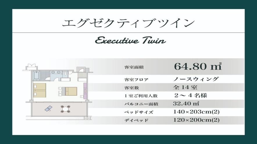 【エグゼクティブツイン/64.80平米】ノースウイング棟2階(間取り図)