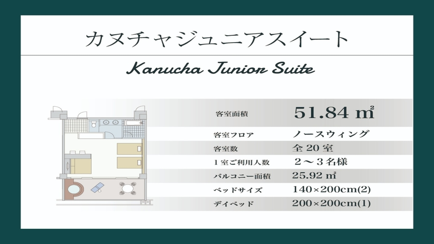 【カヌチャジュニアスイート/51.84平米】ノースウイング棟3・4階(間取り図)