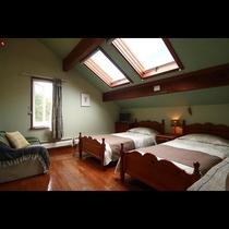 天窓から星空が望めるカントリー調のツインルーム。
