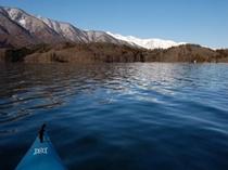 青木湖でカヌー