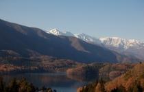 青木湖と北アルプス