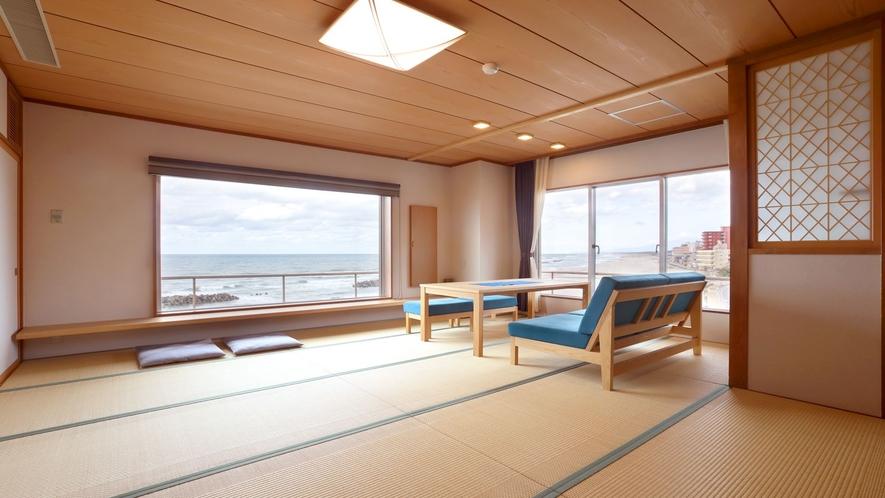【リノベーション客室】窓一面に日本海が広がる。海と共に過ごす旅を♪(一例)