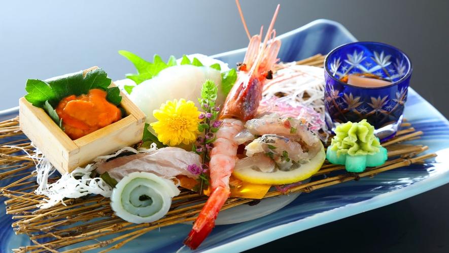 【オプションも可】その日仕入れの新鮮魚介が並ぶ「お刺身盛り」(一例)