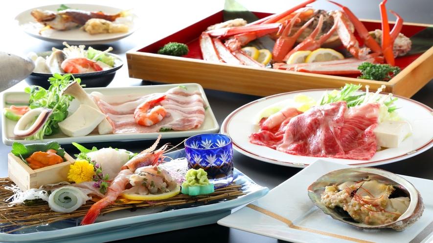 【日本海三昧プラン】鮑&紅ズワイ蟹&選べるお鍋付♪(一例)