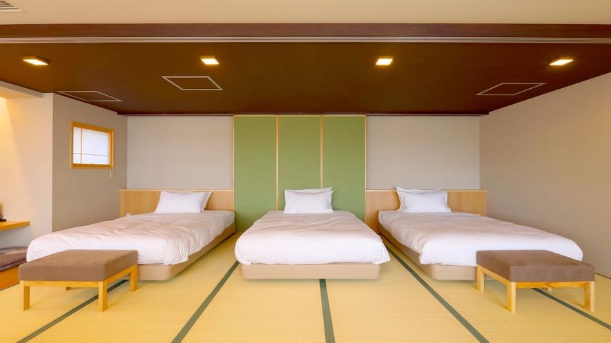 【リノベーション特別室】畳にベッドが置かれた広々特別室(一例)