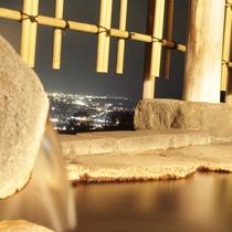 夜の貸切露天風呂から*宝石箱のような夜景と天然温泉をプライベートな空間でお寛ぎ下さいませ。
