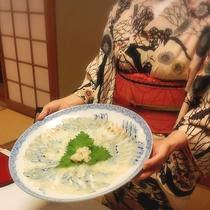 *【夕食一例】ヒラメは薄造りでご用意致します。