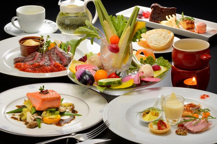 【夕食一例】会津の旬野菜を使用したバーニャカウダからはじまるイタリアンのフルコース