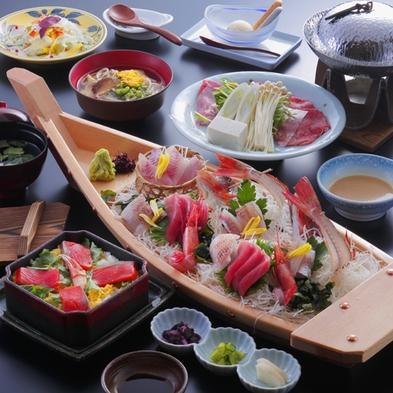 【基本料理プラン】お魚通好み!! お好みで追加して楽しむ舟盛料理+海一望の貸切風呂無料【直前割】