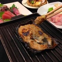 カワハギの肝のなめ味噌焼。
