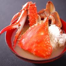 【巡_秋】ワタリ蟹味噌汁。すごく美味しいだしが