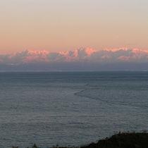 西日に映える立山連峰