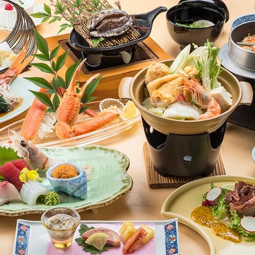 [季節の会席料理]アワビにカニ!ほかほかお鍋!冬の味覚たっぷりの旬会席料理一例