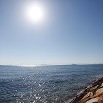 <周辺環境>イルカが暮らす有明海。当館そばからウォッチングツアーの船が出ています