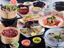 当館スタンダードご夕食「竹コース」のお料理一例です