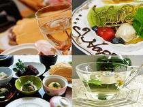 夕食一例---記念日の3種類デザート付の夕食