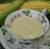 夕食・好評のコーンスープは食べるスープ