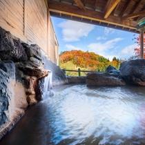 【温泉露天風呂】渓谷美を堪能。秋は紅葉に彩られた絶景が楽しめます。