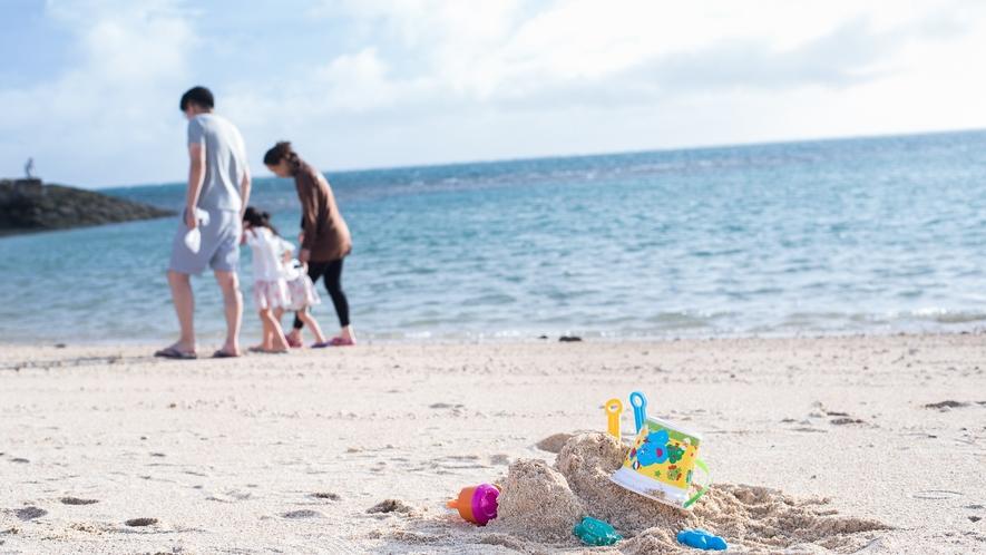 ざんぱビーチで家族の思い出を