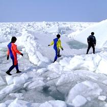 【流氷ウォーク】ガイドに続いて流氷の上を散歩♪見たことのない白銀の世界が広がります♪