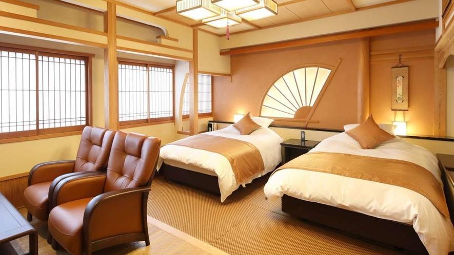 畳の上にツインベッドを設置した和モダンタイプのお部屋です。