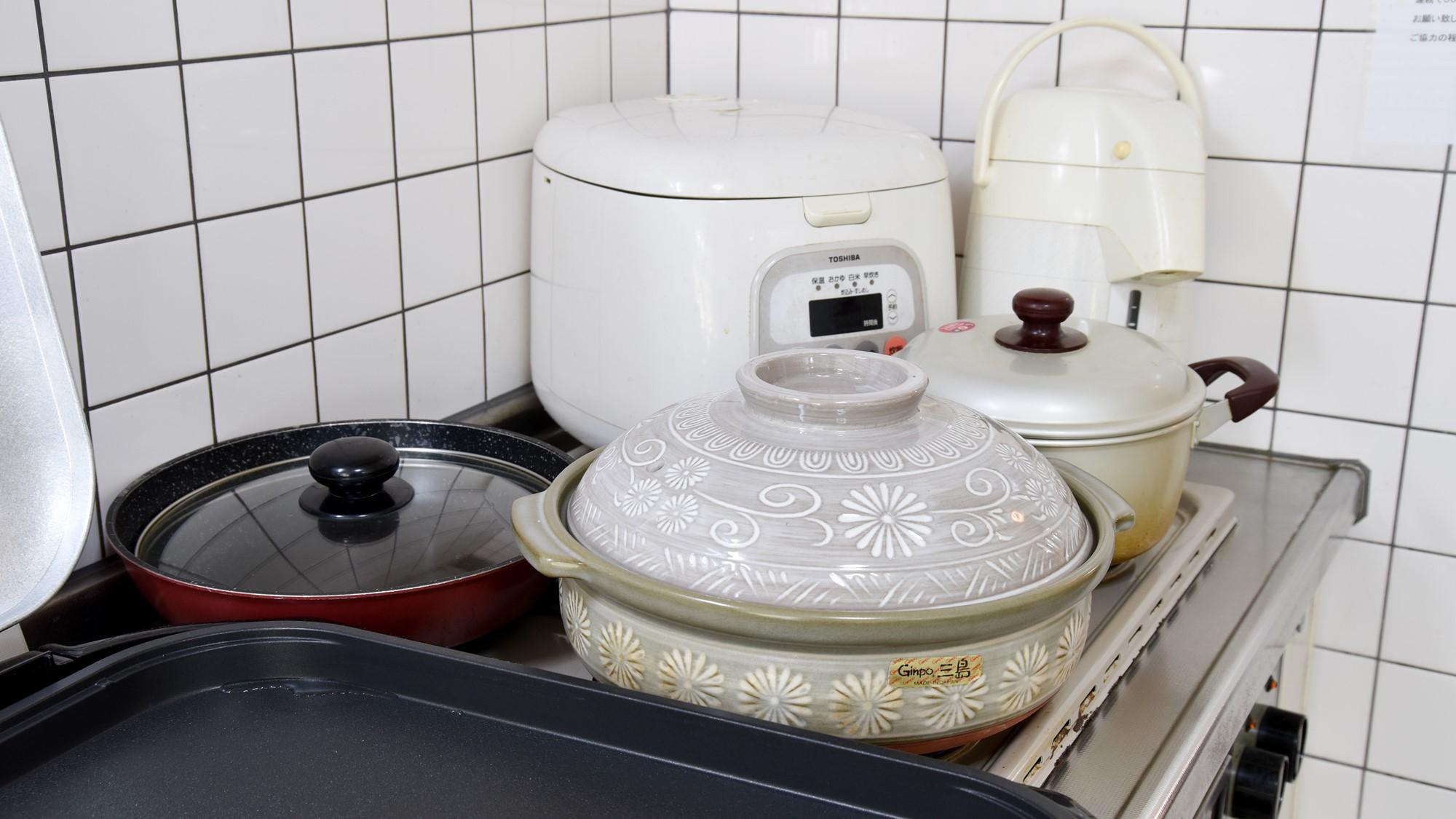 *お鍋、炊飯器、ポットも御座います。自炊の際にご利用ください。