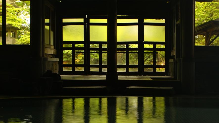 【桃山風呂】中から外の緑