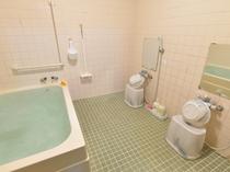 女性用浴室。安全のため暗証番号でキーがかかります。