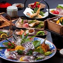 【会席料理】関アジの姿造り例