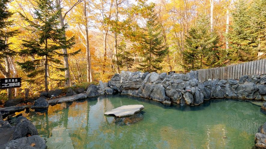 【露天風呂 男性】秋~湧き出る温泉と季節感を楽しめる。
