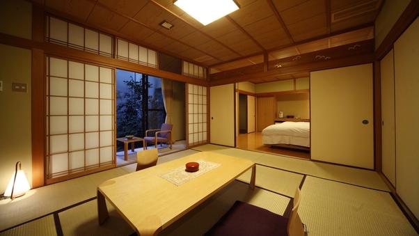 和洋室 -和室10畳+ツイン- 《禁煙・檜温泉内風呂付》