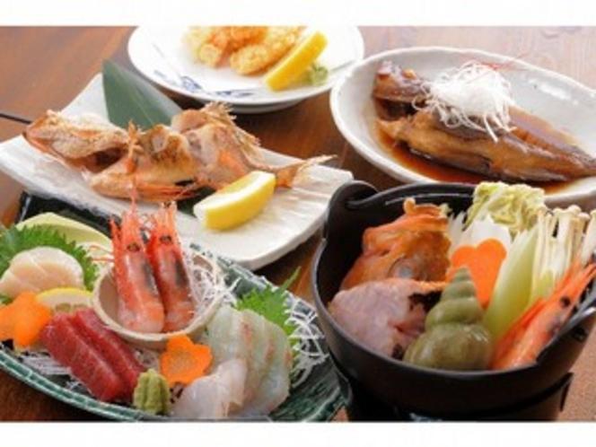 夕食の魚料理。