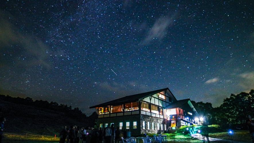 【星空ヒュッテ】夏季は星空ヒュッテにて満天の星空を観賞できます