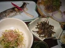 山菜料理と岩魚