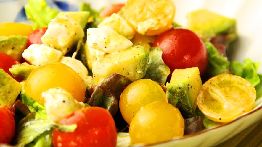 【夕食一例】新鮮な野菜をふんだんに使ったサラダ。